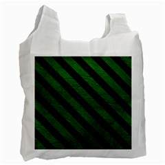 Stripes3 Black Marble & Green Leather (r) Recycle Bag (one Side)