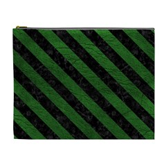 Stripes3 Black Marble & Green Leather (r) Cosmetic Bag (xl)