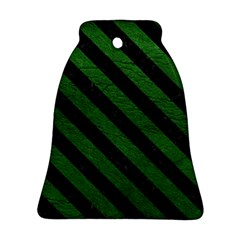 Stripes3 Black Marble & Green Leather (r) Bell Ornament (two Sides)