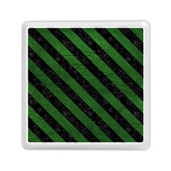 Stripes3 Black Marble & Green Leather (r) Memory Card Reader (square)