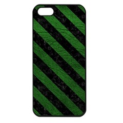 Stripes3 Black Marble & Green Leather (r) Apple Iphone 5 Seamless Case (black)