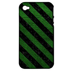 Stripes3 Black Marble & Green Leather (r) Apple Iphone 4/4s Hardshell Case (pc+silicone)