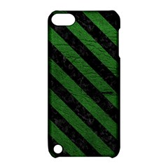 Stripes3 Black Marble & Green Leather (r) Apple Ipod Touch 5 Hardshell Case With Stand