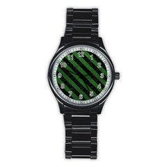 Stripes3 Black Marble & Green Leather (r) Stainless Steel Round Watch