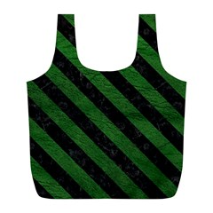 Stripes3 Black Marble & Green Leather (r) Full Print Recycle Bags (l)