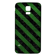 Stripes3 Black Marble & Green Leather (r) Samsung Galaxy S5 Back Case (white)