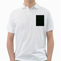 Tile1 Black Marble & Green Leather Golf Shirts