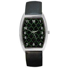 Tile1 Black Marble & Green Leather Barrel Style Metal Watch