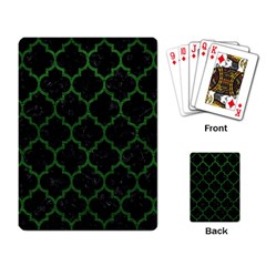 Tile1 Black Marble & Green Leather Playing Card