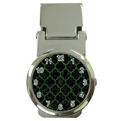 Tile1 Black Marble & Green Leather Money Clip Watches