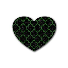Tile1 Black Marble & Green Leather Rubber Coaster (heart)