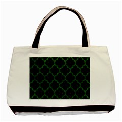 Tile1 Black Marble & Green Leather Basic Tote Bag (two Sides)