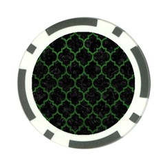 Tile1 Black Marble & Green Leather Poker Chip Card Guard (10 Pack)