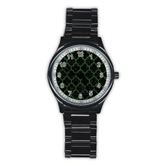 Tile1 Black Marble & Green Leather Stainless Steel Round Watch