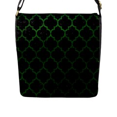 Tile1 Black Marble & Green Leather Flap Messenger Bag (l)
