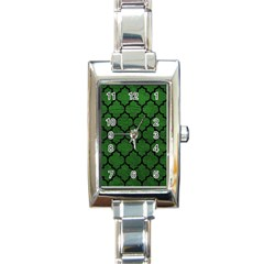 Tile1 Black Marble & Green Leather (r) Rectangle Italian Charm Watch