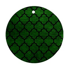 Tile1 Black Marble & Green Leather (r) Ornament (round)