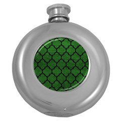 Tile1 Black Marble & Green Leather (r) Round Hip Flask (5 Oz)