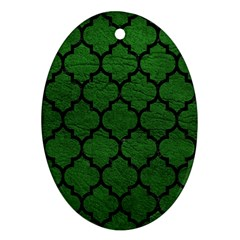 Tile1 Black Marble & Green Leather (r) Oval Ornament (two Sides)