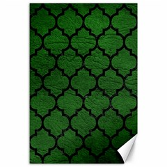 Tile1 Black Marble & Green Leather (r) Canvas 24  X 36