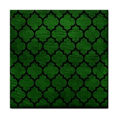 Tile1 Black Marble & Green Leather (r) Face Towel