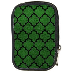 Tile1 Black Marble & Green Leather (r) Compact Camera Cases