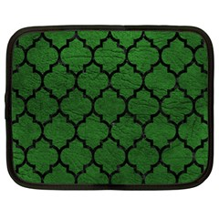Tile1 Black Marble & Green Leather (r) Netbook Case (xl)