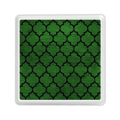 Tile1 Black Marble & Green Leather (r) Memory Card Reader (square)