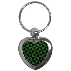 Triangle1 Black Marble & Green Leather Key Chains (heart)