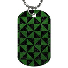 Triangle1 Black Marble & Green Leather Dog Tag (two Sides)