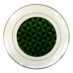 Triangle1 Black Marble & Green Leather Porcelain Plates