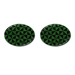Triangle1 Black Marble & Green Leather Cufflinks (oval)