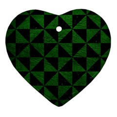 Triangle1 Black Marble & Green Leather Heart Ornament (two Sides)