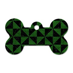 Triangle1 Black Marble & Green Leather Dog Tag Bone (one Side)