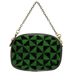 Triangle1 Black Marble & Green Leather Chain Purses (two Sides)