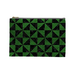 Triangle1 Black Marble & Green Leather Cosmetic Bag (large)