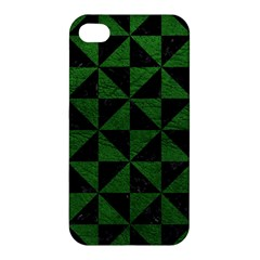 Triangle1 Black Marble & Green Leather Apple Iphone 4/4s Hardshell Case