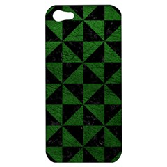 Triangle1 Black Marble & Green Leather Apple Iphone 5 Hardshell Case