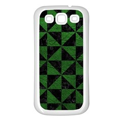 Triangle1 Black Marble & Green Leather Samsung Galaxy S3 Back Case (white)