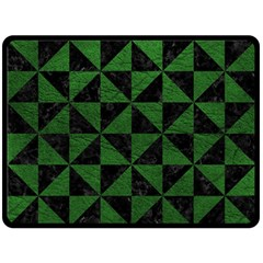 Triangle1 Black Marble & Green Leather Double Sided Fleece Blanket (large)