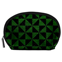 Triangle1 Black Marble & Green Leather Accessory Pouches (large)