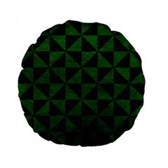 Triangle1 Black Marble & Green Leather Standard 15  Premium Flano Round Cushions