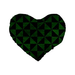Triangle1 Black Marble & Green Leather Standard 16  Premium Flano Heart Shape Cushions