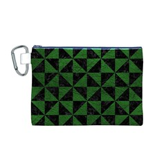 Triangle1 Black Marble & Green Leather Canvas Cosmetic Bag (m)