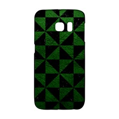 Triangle1 Black Marble & Green Leather Galaxy S6 Edge