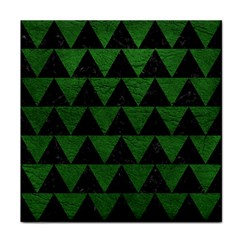 Triangle2 Black Marble & Green Leather Tile Coasters