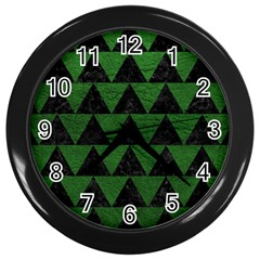 Triangle2 Black Marble & Green Leather Wall Clocks (black)
