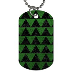 Triangle2 Black Marble & Green Leather Dog Tag (two Sides)