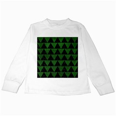 Triangle2 Black Marble & Green Leather Kids Long Sleeve T Shirts