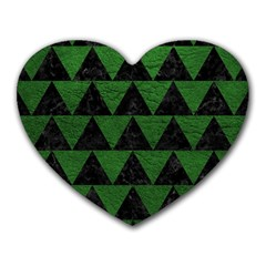 Triangle2 Black Marble & Green Leather Heart Mousepads